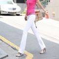 New 2016 Korean Fashion Slim Fit Denim pants thin stretch tight pure white Wide leg jeans women long denim pants free shipping