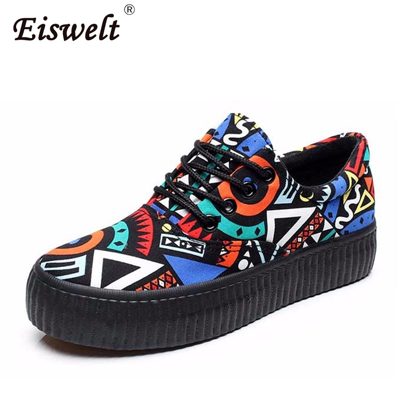 EISWELT Canvas Shoes Platforms Lace Up Women Casual Shoes Mixed Colors Women Flats Comfortable Chaussure Femme Zapatos Mujer renben women canvas shoes 2017 fashion flats women casual white shoes breathable canvas lace up candy colors shoes 6e06