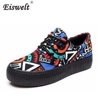 EISWELT Canvas Shoes Platforms Lace Up Women Casual Shoes Mixed Colors Women Flats Comfortable Chaussure Femme