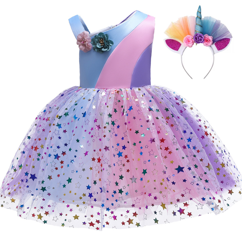 Party-Dresses Tutu Carnival-Costume Birthday Stars-Print Girls Kids Ball-Gown Summer