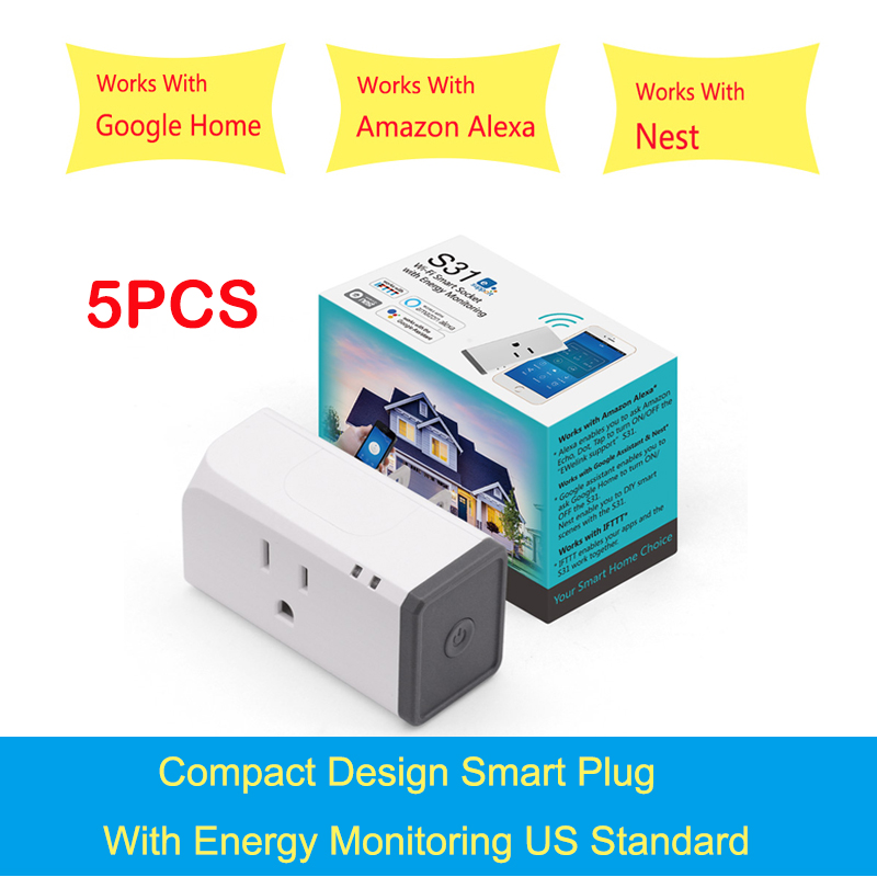 5PCS Sonoff S31 US 16A Smart WiFi Socket Monitor Energy Usage Remote Outlet Switch Works With Alexa Google Home Assistant high quanlity s31 us 16a mini wifi smart socket home power consumption measure monitor energy usage app remote ifttt control hot