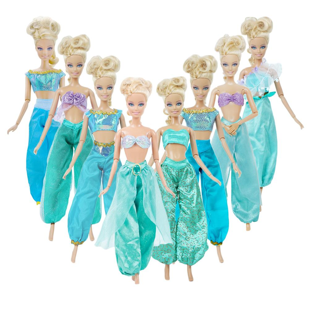 Lot Baggy Wide Leg Pants + Sexy Top Anime Cartoon Outfits For Aladdin Mermaid Fairy Tale Princess Dress Clothes For Barbie Doll