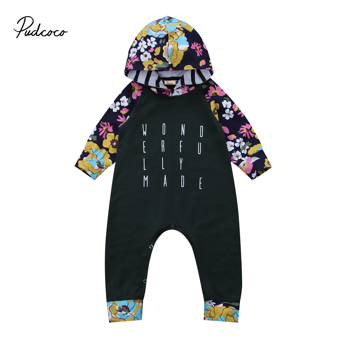 Cotton Newborn Baby Floral Romper Autumn Long Sleeve Warm Hooded Jumpsuit Boys Girls Clothes autumn baby clothes baby jumpsuit boys and girls romper cotton knitted long sleeved sweater