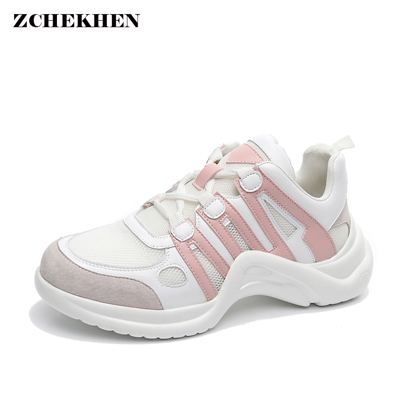 Pink V Sole Flat sneakers hip hop Women's Casual Dad Shoes 2018 Vintage Summer Mesh chunky sneakers tenis feminino MK501 instantarts women flats emoji face smile pattern summer air mesh beach flat shoes for youth girls mujer casual light sneakers