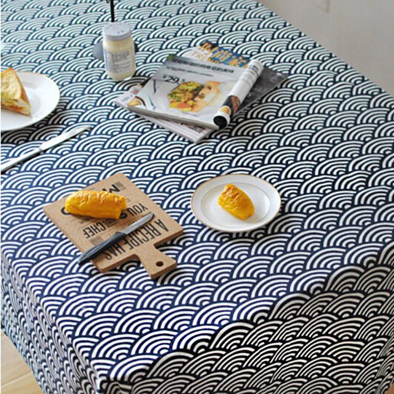 Japanese Style Linen Table Cloth Waves Print Multifunctional Rectangle Tablecloth Shooting Background Cloth Home Decoration
