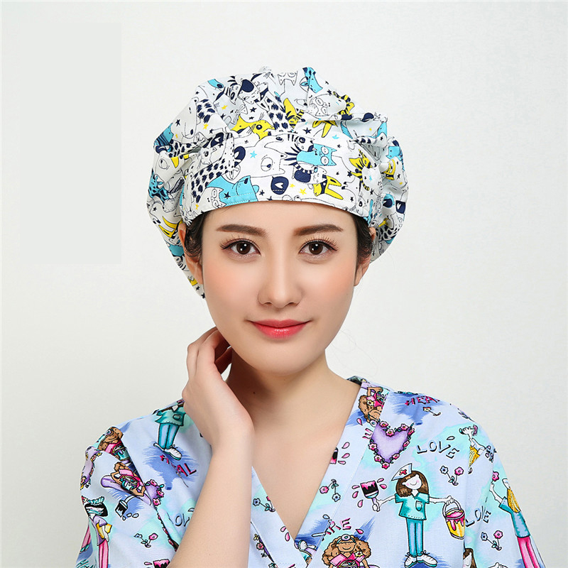 New Beauty Salon Doctor Nurse Scrub Caps Medical Surgical Women Hats With Sweatband Inner For Unisex Clinic Workwear Cap Cotton Traveling Accessories Work Wear & Uniforms