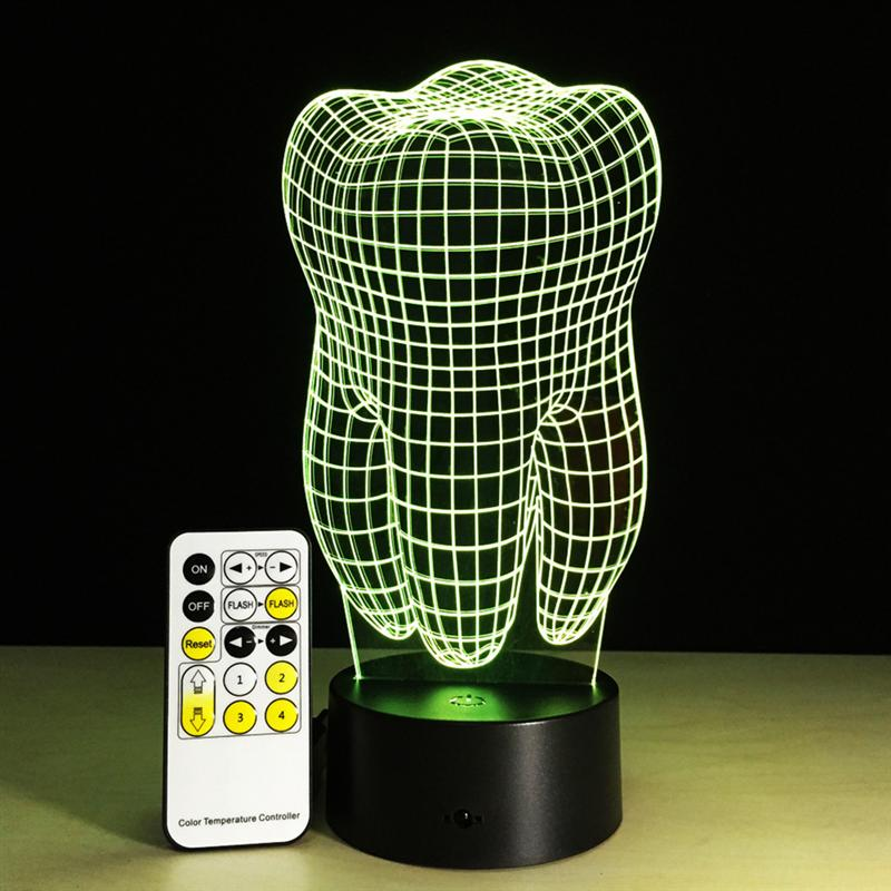 Doctor Big Teeth 7 Color Changing LED Luminaria Baby Night Light 3D Lamp Bedroom Lighting For Girls Toy Gift