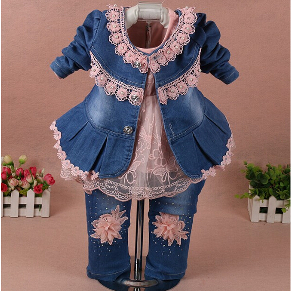 2017 Spring Girl Flower Denim Jacket+T shirt+Pant Clothing Sets 3pcs Kids Clothes Set Baby Girls Autumn Casual Suit Infant Jeans fashion baby girl t shirt set cotton heart print shirt hole denim cropped trousers casual polka dot children clothing set