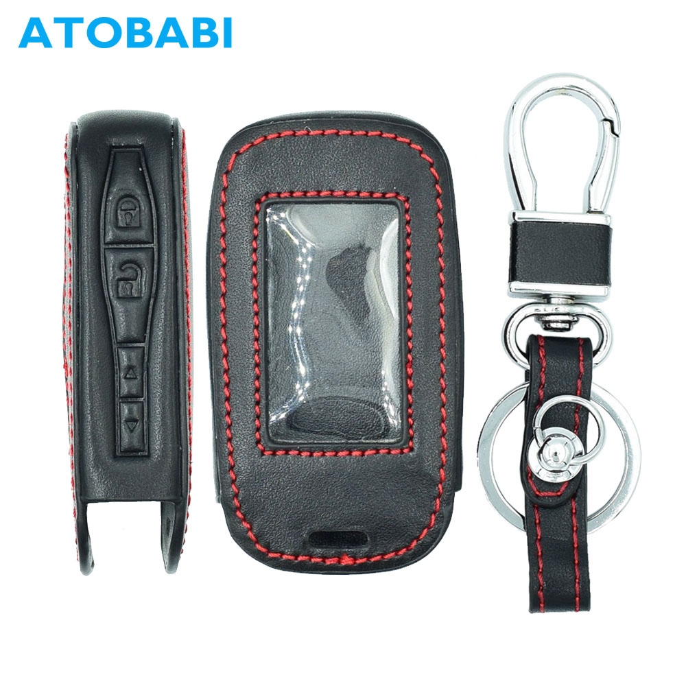 ATOBABI E90 E60 Leather Key Case Keychain For StarLine E60 E90 E63 E93 E95 E66 E96 Two Way Car Alarm LCD Remote Controller Cover atobabi e60 e90 leather key fob cover cases for starline e60 e90 e63 e93 e95 e66 e96 lcd remote controller keychain transmitter