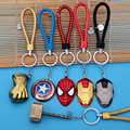 Super Hero The Avengers Captain Iron Man Thor Leather Cord Leather Knitted Keychain Creative Car Key Ring Wholesale