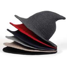 2018 Knit Bucket Hat Witch Hat Fisherman Men Women Halloween Decor Party  Hats brim Sun Berets 95d82090abd