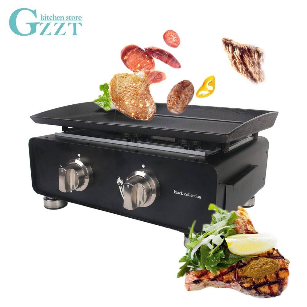 GZZT BBQ Grills Black Epoxy Coated Outdoor Use Stainless Steel Cooking Area 525*340mm LPG Gas Two Burners For Camping BBQ Tools