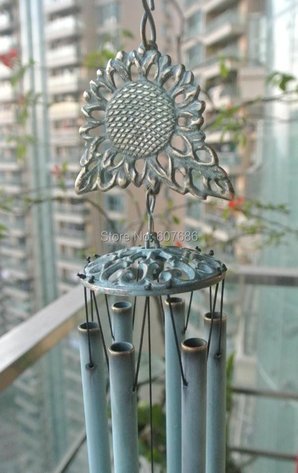 Carillons à vent en laiton tournesol avec 6 tuyaux en Bronze Verdigris décoration suspendue en métal carillon à vent cloche extérieur ornements de jardin porche