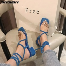 TINGHON Med Heel Transparent PVC Sandals Women Lace up Cross-tie Gladiator Elegant Ladies Shoes