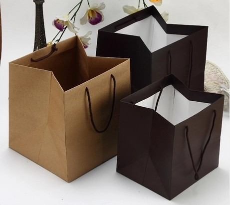 Free shipping 2014 new thick paper bag plant pot potted flowers ...