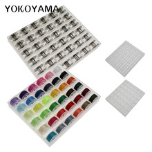 YOKOYAMA 36Pcs Klar Leere Spulen Spool Metall Fall 25 Grid Lagerung Fall Box Für Brother Janome Singer Elna Nähen maschine Rollen(China)
