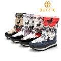 Зимние ботинки женщин мода носить снегоступы для девочки середины икры высокая осень густой мех теплые сапоги 2016 ткань марка зима обувь