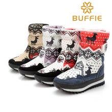 Winter stiefel frauen mode tragen schnee stiefel für mädchen mittler-kalb hohe herbst dickes fell warme stiefel 2016 stoff marke winter schuhe