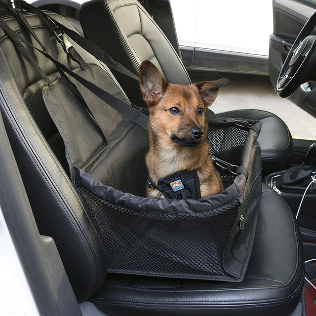 Portable Dog Booster Seat Black Car Waterproof Non Scratch Leash Fabric Carrier Ideal