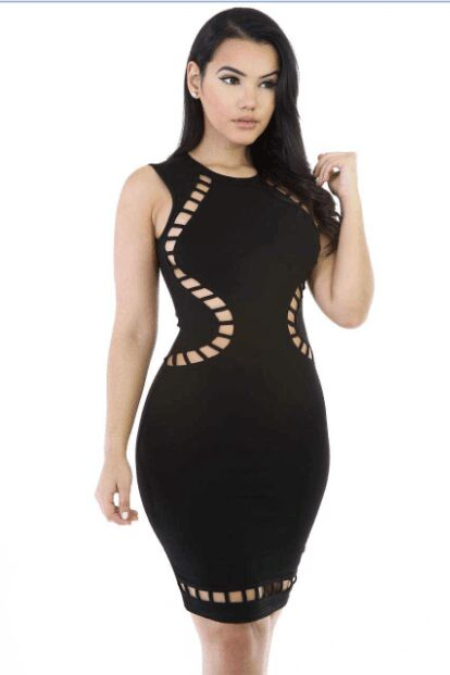 Vestidosde fiesta 2017 Hollow Out Women Bandage Dress Sexy Elegant Bodycon Mini DressFor Party Night Club HL Bandage Dress Black