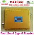 LCD New Dual Band 65dBi CDMA DCS Celular Repetidor de Sinal, 850 mhz 1800 mhz Impulsionador gsm Amplificador Extensor de sinal Duplo bar