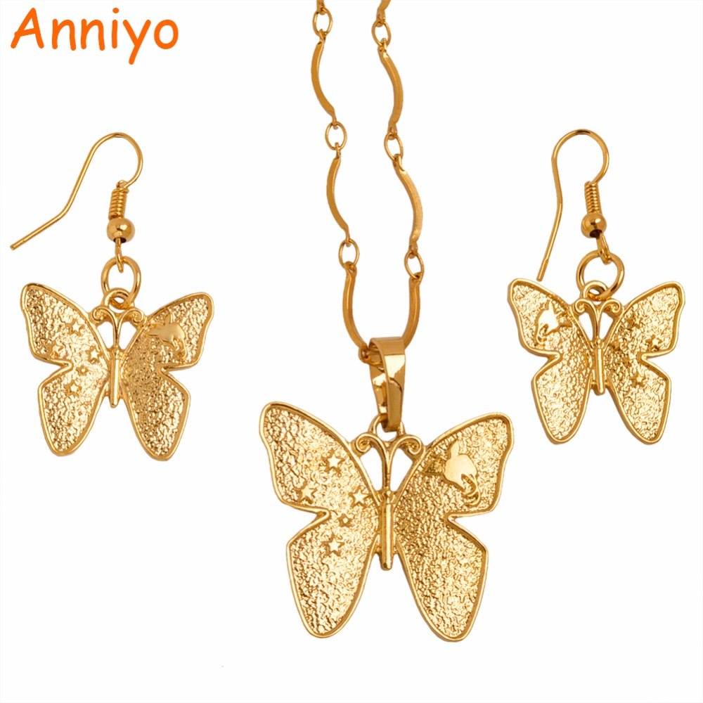 Anniyo PNG Butterfly Pendant Necklaces Jewelry for Women,Papua New Guinea Gold Color Jewellery National Itmes #102306