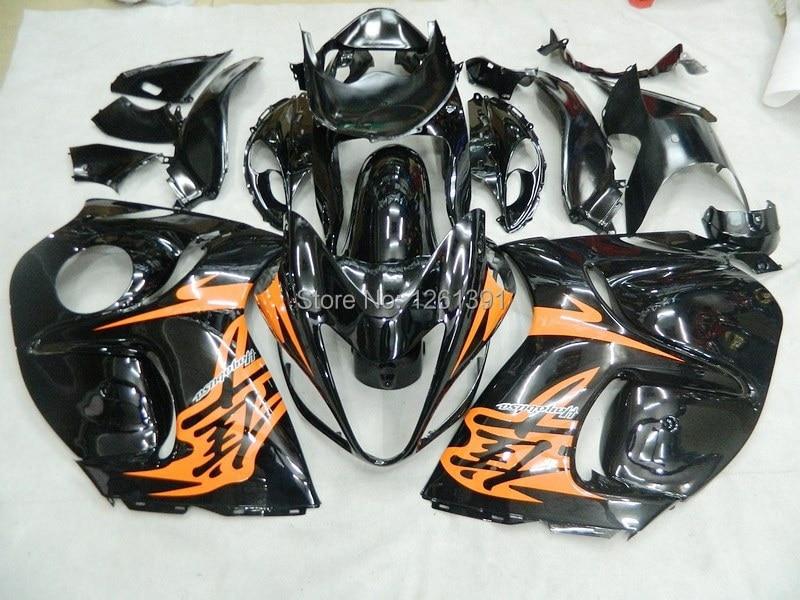 Подходит инъекции комплект обтекателей для SUZUKI hayabsa GSXR1300 2008 2009 GSX-R1300 GSXR 1300 08 09 Обтекатели orange черный# EE3A1