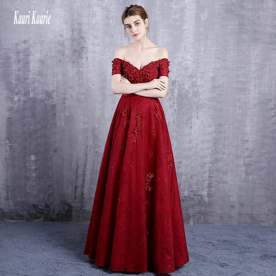 Formal women Burgundy   Evening     Dresses   2019 New Sexy   Evening   Gowns Long Sweetheart Appliques Beading Lace Up   Evening   Party   Dress