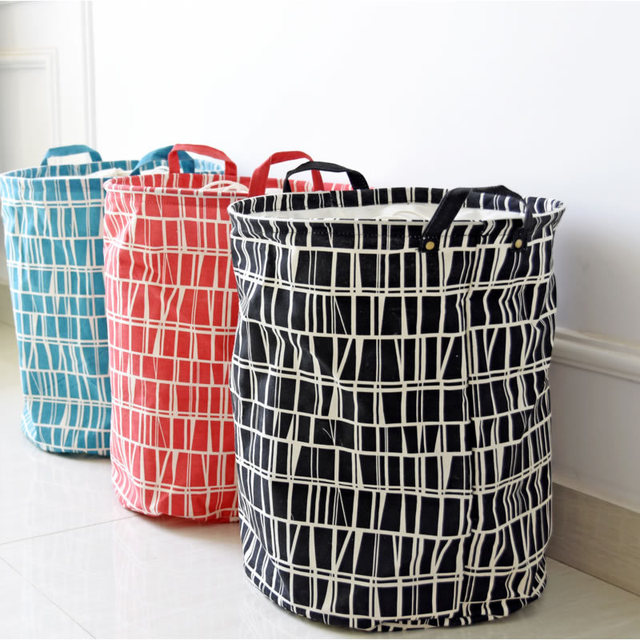 Zakka Geometric Mosaic Printing Canvas Toy Storage Buckets Large Capacity  Laundry Basket For Clothes Storage Barrels