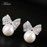 Fashion Jewelry Pearl Earrings White Gold Plated SWA Element Austrian Crystals Bowknot Stud Earrings For Women