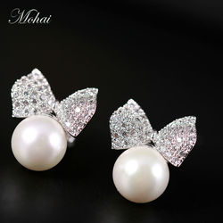 Mocai fashion brand jewelry pearl earrings white silver color swa element austrian crystals bowknot stud earrings.jpg 250x250