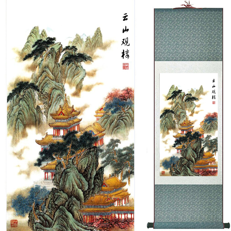Mountain and river painting Home Office Decoration Chinese scroll painting mountain and River painting TX2017122111