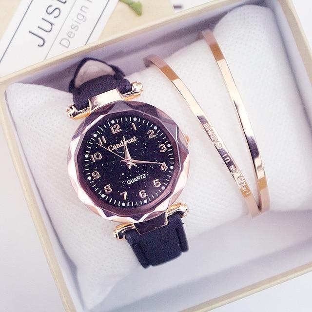 Hot Sale Women Fashion Watches Cheap Starry Sky Ladies Bracelet Watch Casual Leather Quartz Wristwatches Clock Relogio Feminino