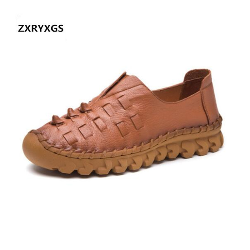 2019 New Autumn Breathable Handmade Shoes Woman Full Genuine Leather Shoes Flat Shoes Non slip Comfortable Fashion Casual Shoes