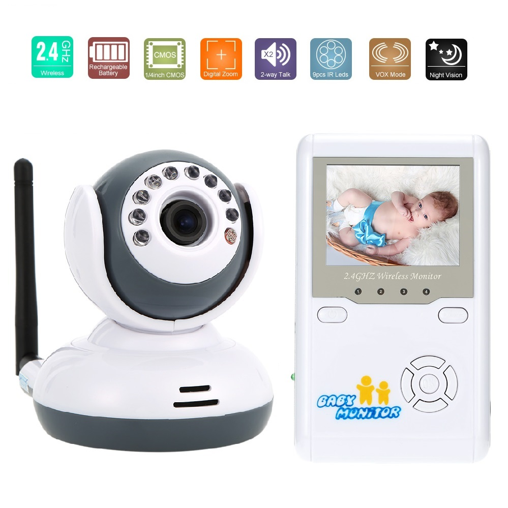 2.4 inch LCD baby monitor with camera IR Night Vision 2 way Talk Lullabies Zoom 4 CHs Rechargeable Battery audio baby monitor
