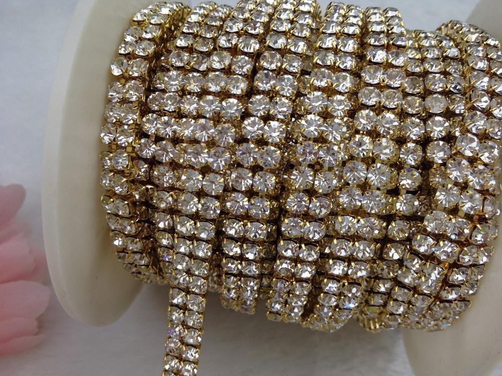 2 Rows 4mm 888 Rhinestone Gold chain Cake Ribbon Trim Wedding Decoration x  1 yard ab4efa64ab8e