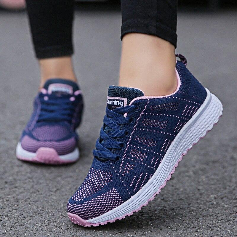 Femmes chaussures décontractées mode respirant marche maille chaussures plates baskets femmes 2020 gymnase vulcanisé chaussures blanc chaussures femme