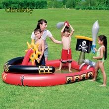 Летняя Детская забава игра аквапарк корсаир бассейна Спрей воды надувной пират лодка для Открытый сад дети плавание посыпать