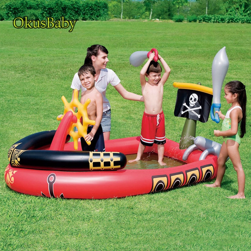 Summer Baby Fun Play Water Park Corsair Pools Spray Water Inflatable Pirate Boat For Outdoor Garden Children Swimming Sprinkle