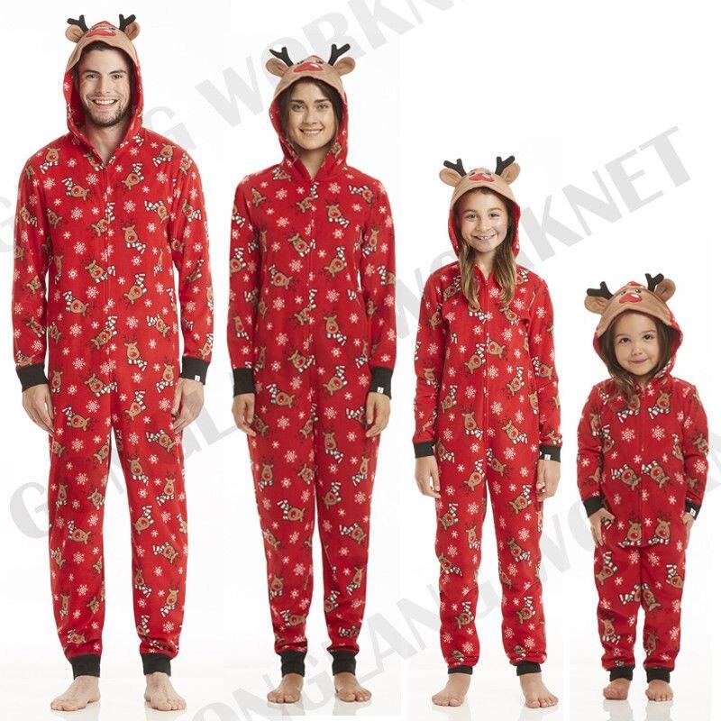 cute cotton family matching christmas pajamas set women baby kids printed deer hooded jumpsuit sleepwear nightwear