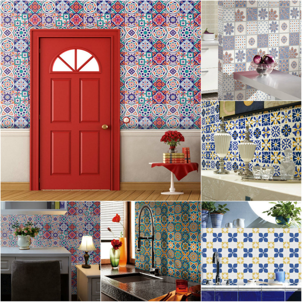 0.2x5m Multi Pattern Retro Cabinets Tile Stickers PVC Bathroom <font><b>Kitchen</b></font> Waterproof Wall Sticker Home Decor Self Adhesive Decals