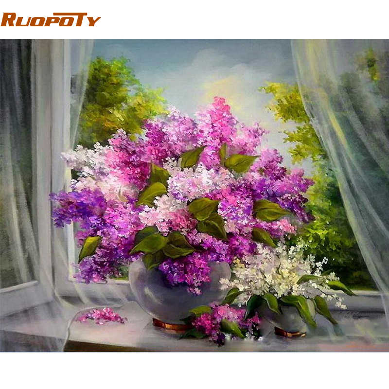 RUOPOTY Frame Purple Flowers DIY Painting By Numbers Kits Modern Wall Art Picture Acrylic Paint By Number For Home Decor 40x50cm