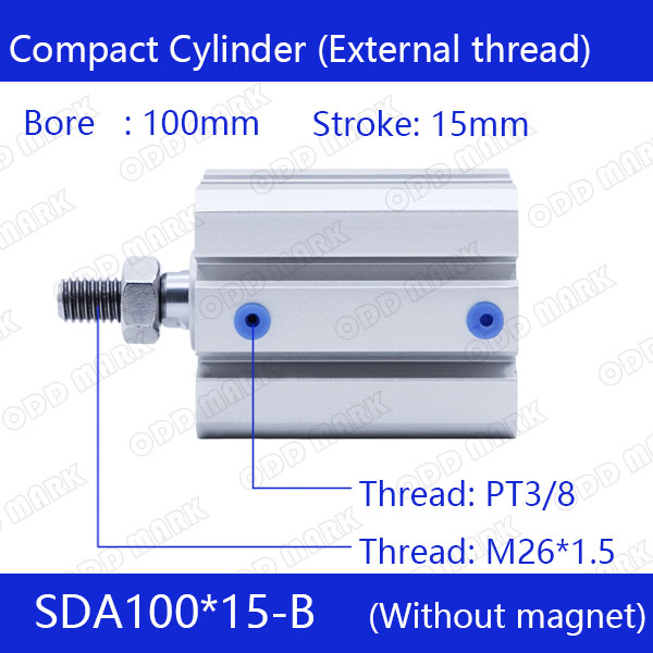 SDA100*15-B Free shipping 100mm Bore 15mm Stroke External thread Compact Air Cylinders Dual Action Air Pneumatic Cylinder sda100 35 b free shipping 100mm bore 35mm stroke external thread compact air cylinders dual action air pneumatic cylinder