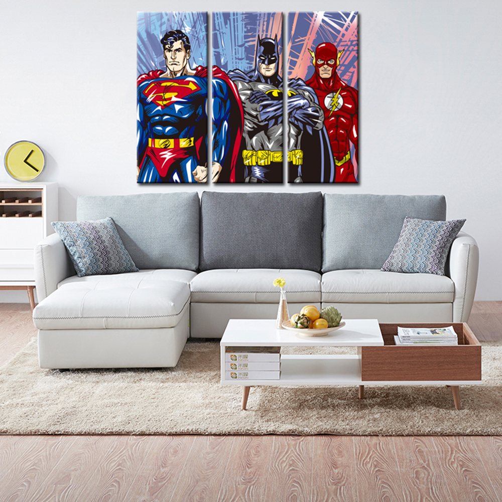 3 Pieces Canvas Painting Superhero Modern Home Wall Decor Canvas Art - Home Decor - Photo 3