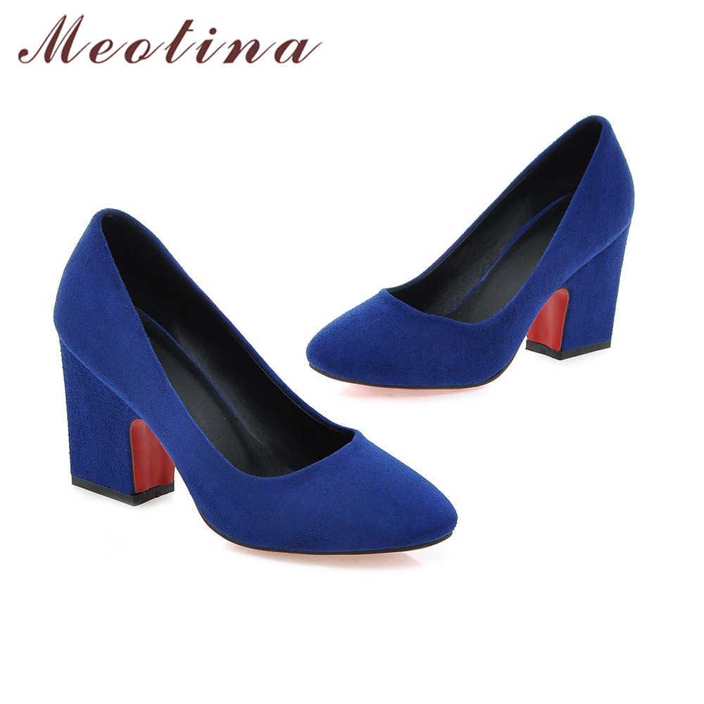 Buty damskie meotina 2018 Design kobiety pompy wysokie obcasy Plus rozmiar 34-43 kwadratowe Toe Lady obuwie robocze grube szpilki niebieski szary