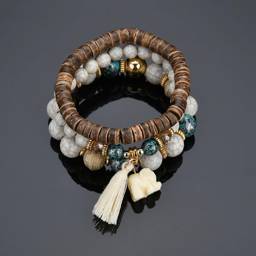 Bohemian Natural Stone Wooden Bead Bracelet