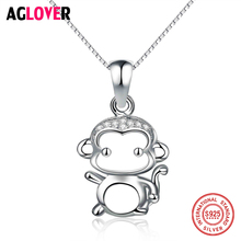 Hot Selling 925 Sterling Silver Cute Monkey Cartoon Pendant Necklaces for Women Girl Authentic Quality Crystal Fine Jewelry Gift