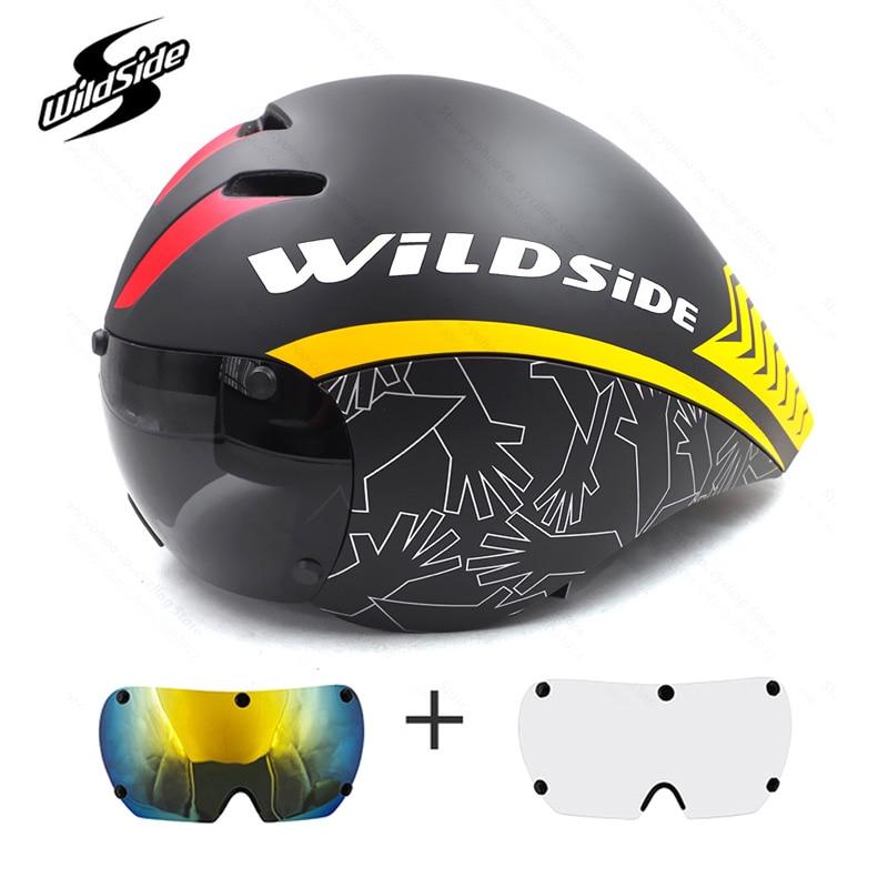 Bicycle helmet Road Triathlon TT tri aero Bike Helmet with Goggles Sports Racing Cycling TT Helmet
