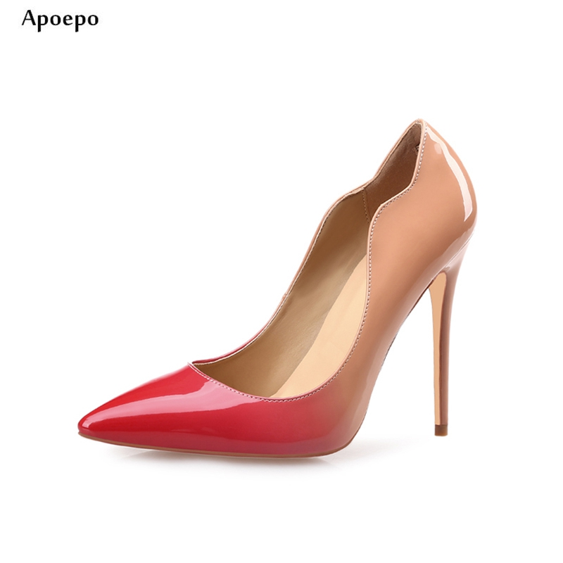 New 2018 Spring Newest Thin Heels Shoes Pointed Toe Gradient Color Leather Pumps Sexy High Heels for Woman Slip-on Pumps newest flock blade heels shoes 2018 pointed toe slip on women platform pumps sexy metal heels wedding party dress shoes