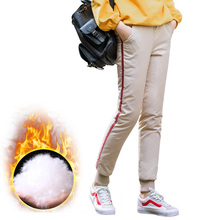 Women Cotton Full Length Pants Mid-waist Casual Elastic Creamy White Sequined All-match Warm Winter Large Size Outdoor Sports